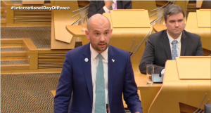 Ben spoke in Bill Kidd MSP's Member's Debate on UN International Day of Peace on Tuesday 18th September