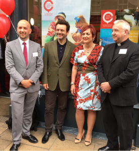 From left, Ben Macpherson MSP, Michael Sheen, Angela Constance MSP (the Communities Secretary) and Rev Iain May.