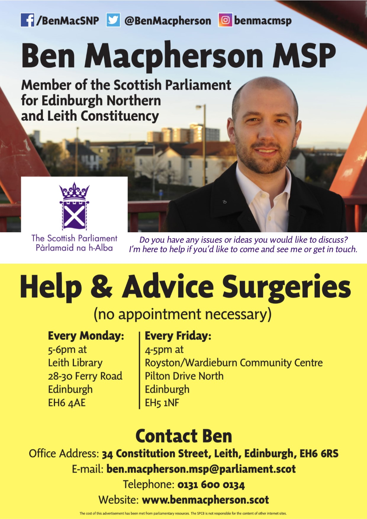 Ben Macpherson MSP Help and Surgery Advice Poster